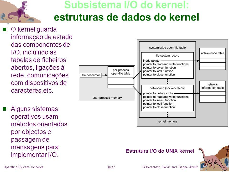 Silberschatz, Galvin and Gagne 2002 10.17 Operating System Concepts Subsistema I/O do kernel: estruturas de dados do kernel O kernel guarda informação