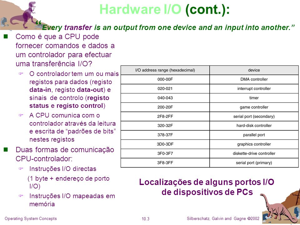 Silberschatz, Galvin and Gagne 2002 10.3 Operating System Concepts Hardware I/O (cont.): Every transfer is an output from one device and an input into