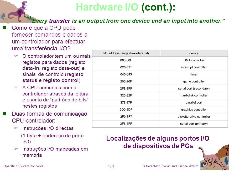 Silberschatz, Galvin and Gagne 2002 10.4 Operating System Concepts Hardware I/O: Comunicação CPU-Dispositivo I/O via Polling Espera Ocupada da CPU A interacção entre a CPU e um controlador faz-se por aperto de mão (handshaking).