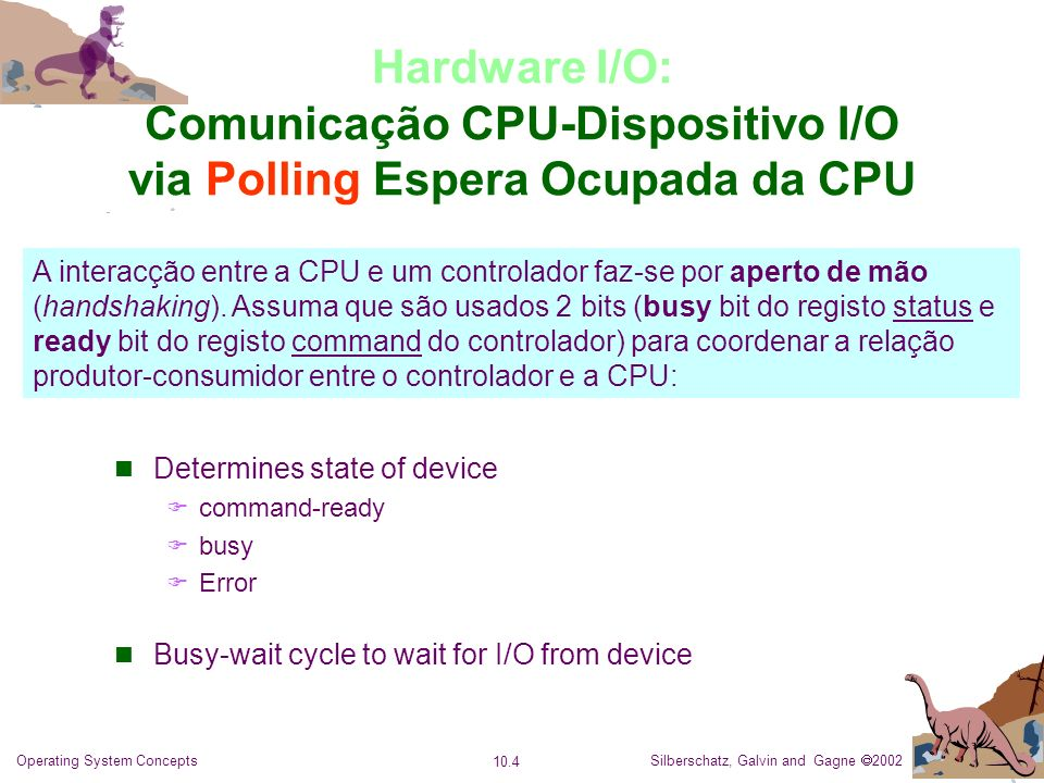 Silberschatz, Galvin and Gagne 2002 10.4 Operating System Concepts Hardware I/O: Comunicação CPU-Dispositivo I/O via Polling Espera Ocupada da CPU A i