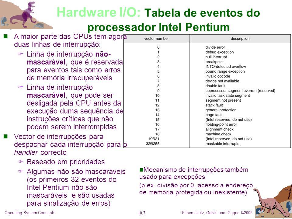 Silberschatz, Galvin and Gagne 2002 10.8 Operating System Concepts Hardware I/O: Acesso Directo à Memória (DMA) Transferência directa de dados entre dispositivos I/O e a memória sem participação da CPU Requer controlador DMA