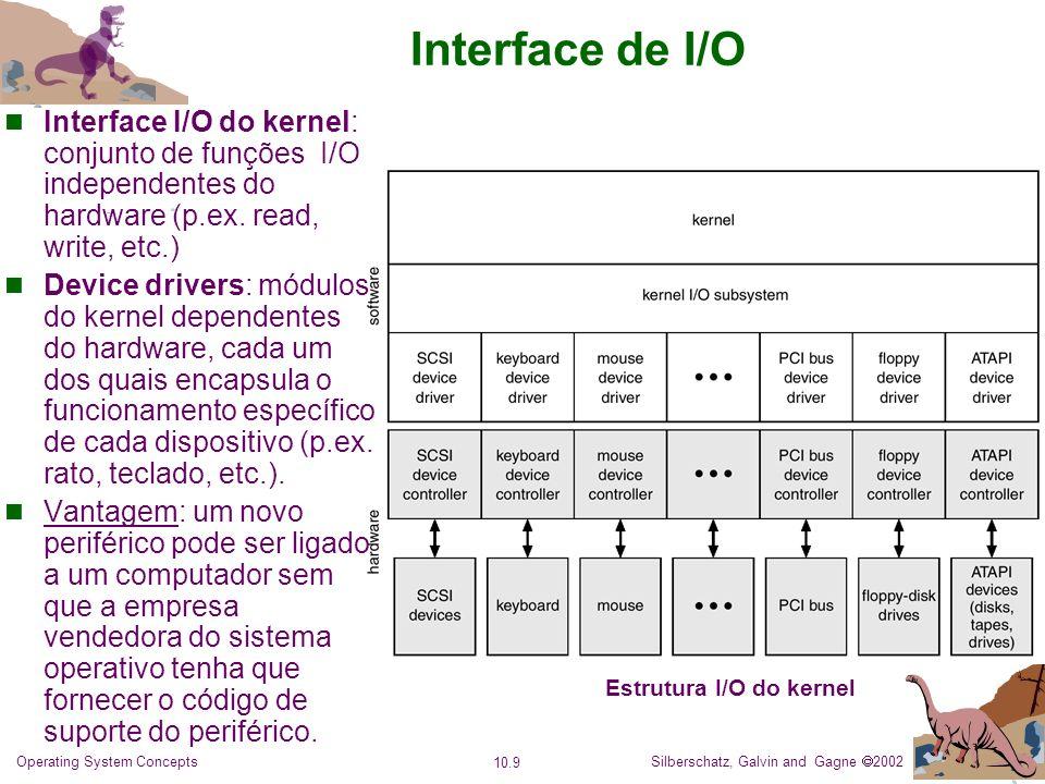 Silberschatz, Galvin and Gagne 2002 10.10 Operating System Concepts Interface de I/O: Características dos dispositivos de I/O Dispositivos diferenciam-se de várias maneiras: Character-stream ou block.