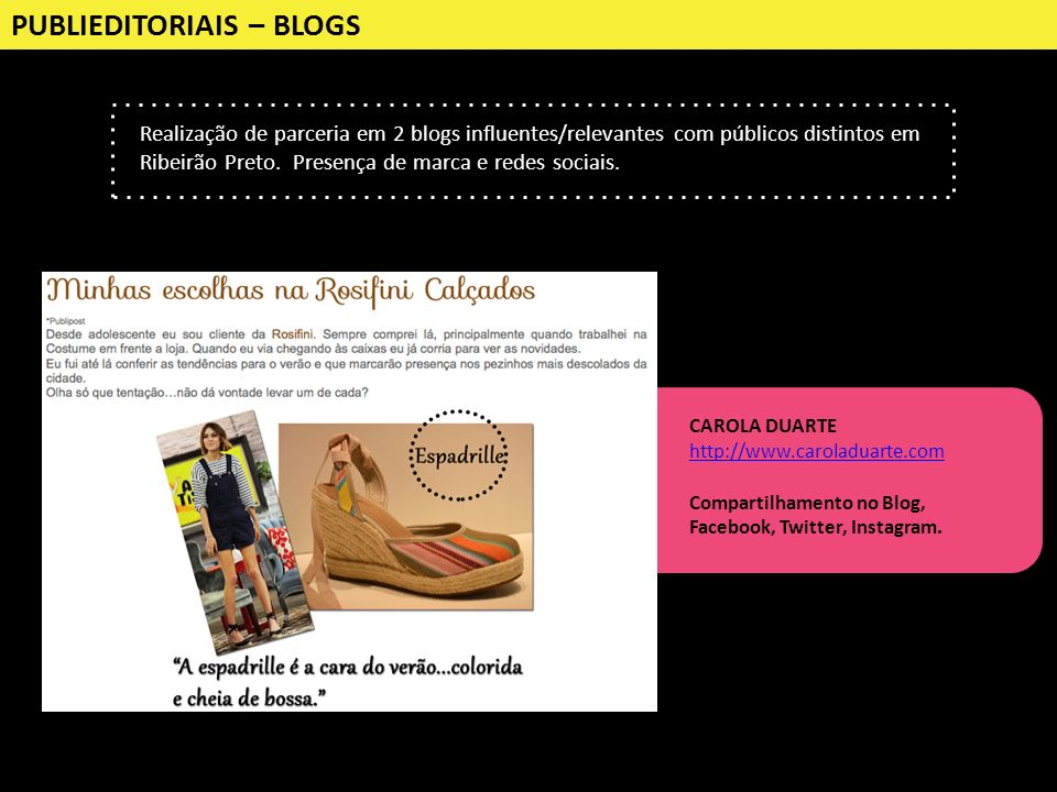 PUBLIEDITORIAIS – BLOGS Realização de parceria em 2 blogs influentes/relevantes com públicos distintos em Ribeirão Preto. Presença de marca e redes so