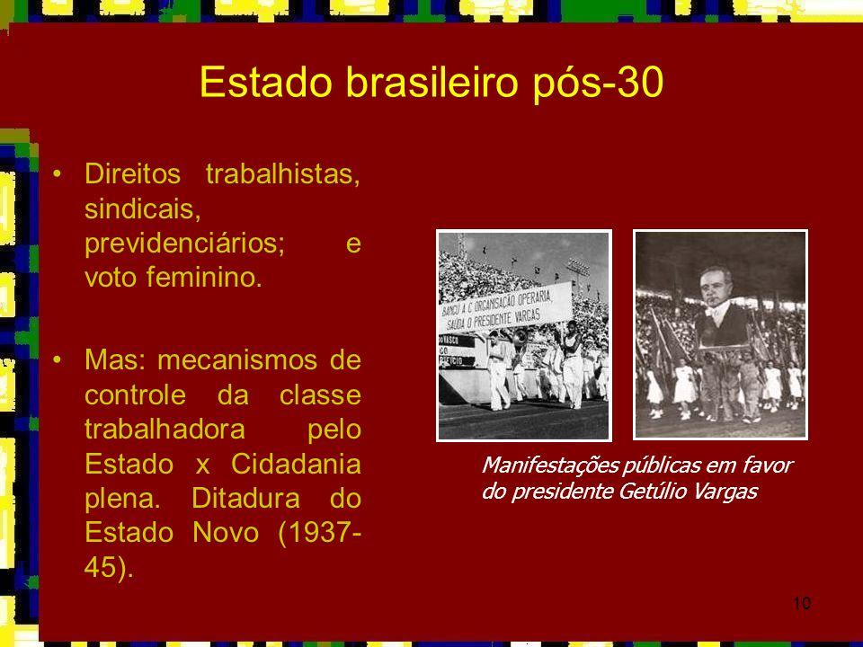 10 Estado brasileiro pós-30 Direitos trabalhistas, sindicais, previdenciários; e voto feminino. Mas: mecanismos de controle da classe trabalhadora pel