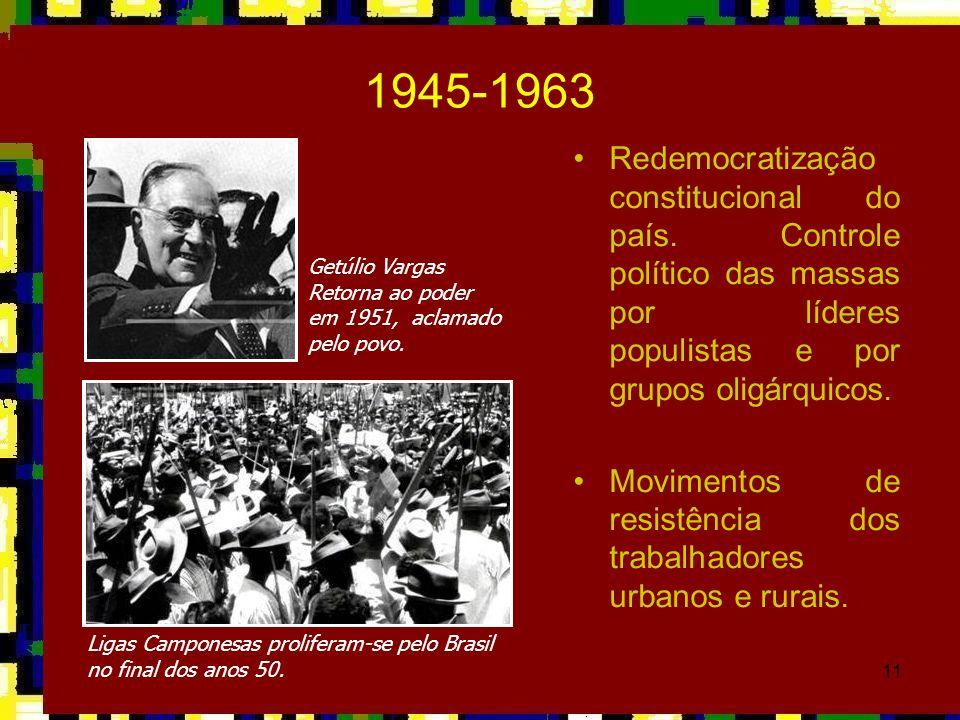 11 1945-1963 Redemocratização constitucional do país. Controle político das massas por líderes populistas e por grupos oligárquicos. Movimentos de res