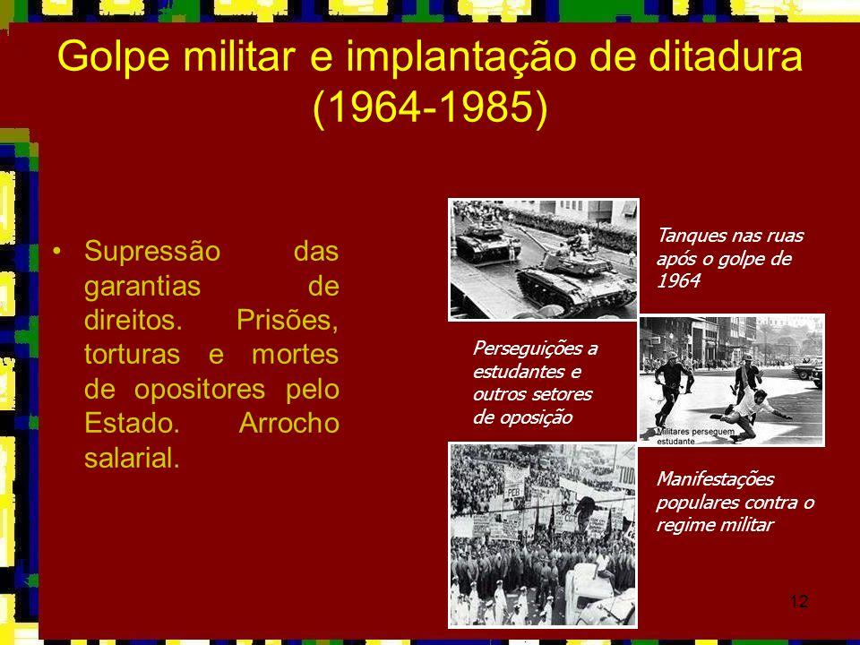 12 Golpe militar e implantação de ditadura (1964-1985) Supressão das garantias de direitos. Prisões, torturas e mortes de opositores pelo Estado. Arro