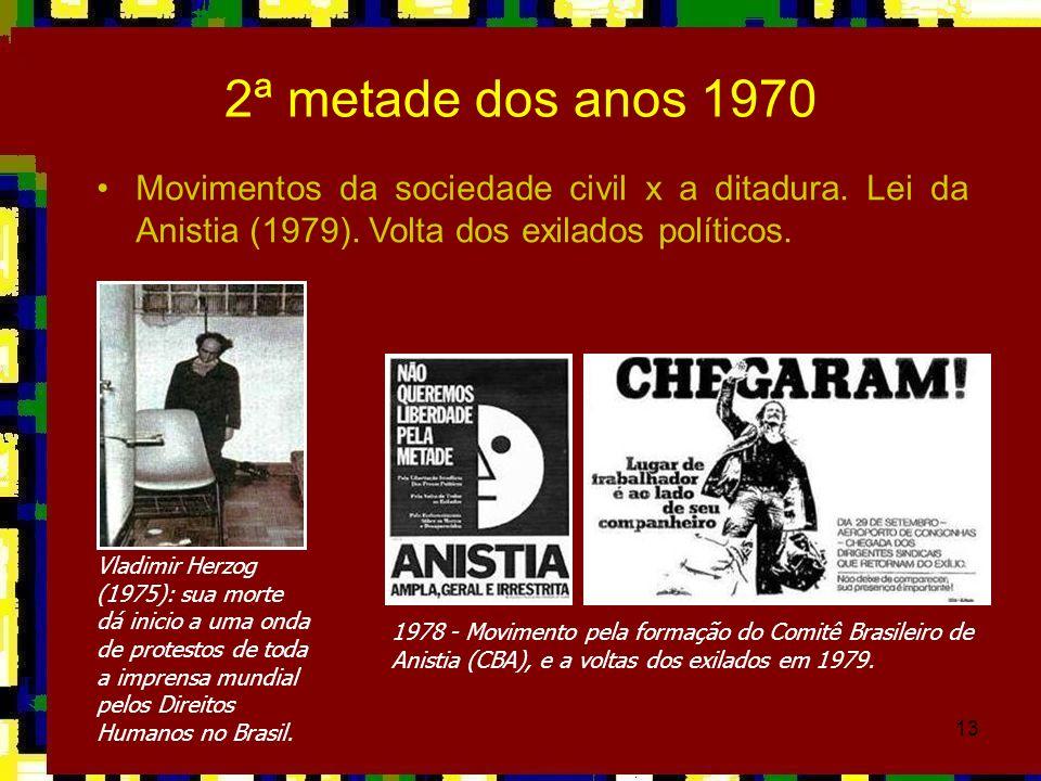 13 Movimentos da sociedade civil x a ditadura. Lei da Anistia (1979). Volta dos exilados políticos. Vladimir Herzog (1975): sua morte dá inicio a uma