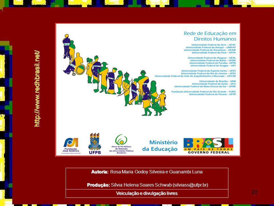 20 http://www.redhbrasil.net/ Autoria: Autoria: Rosa Maria Godoy Silveira e Guanambi Luna Produção: Produção: Sílvia Helena Soares Schwab (silviass@uf