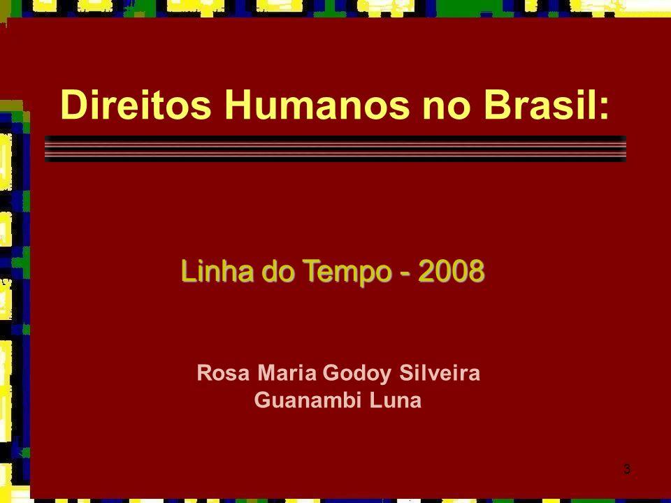 3 Direitos Humanos no Brasil: Linha do Tempo - 2008 Rosa Maria Godoy Silveira Guanambi Luna