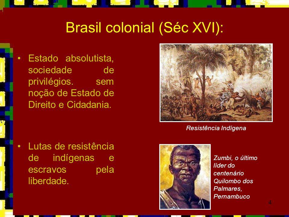 4 Brasil colonial (Séc XVI): Estado absolutista, sociedade de privilégios. sem noção de Estado de Direito e Cidadania. Lutas de resistência de indígen