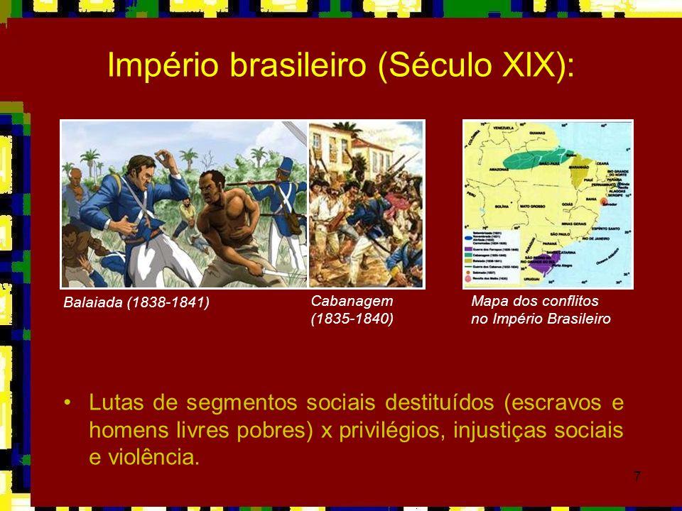 7 Império brasileiro (Século XIX): Lutas de segmentos sociais destituídos (escravos e homens livres pobres) x privilégios, injustiças sociais e violên