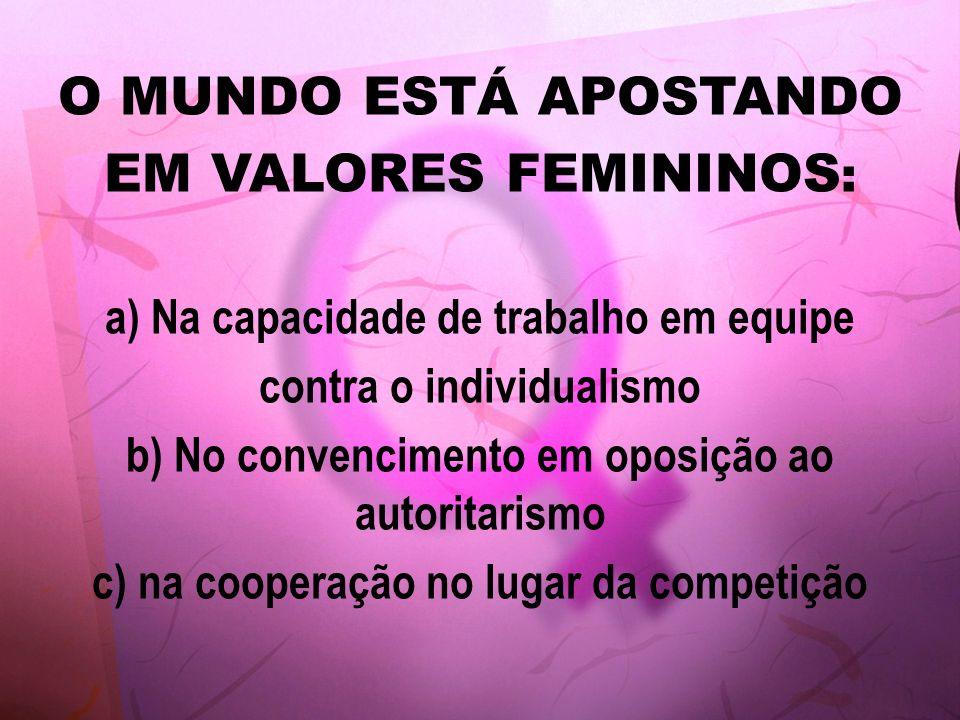 O MUNDO ESTÁ APOSTANDO EM VALORES FEMININOS : a) Na capacidade de trabalho em equipe contra o individualismo b) No convencimento em oposição ao autori