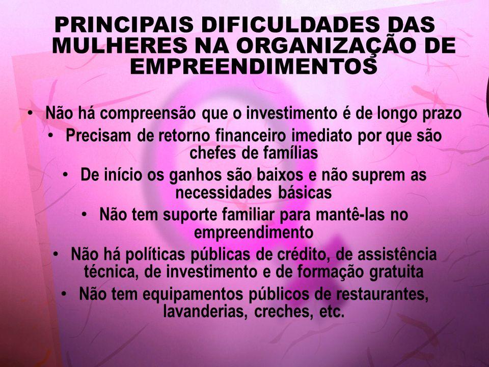 PRINCIPAIS DIFICULDADES DAS MULHERES NA ORGANIZAÇÃO DE EMPREENDIMENTOS Não há compreensão que o investimento é de longo prazo Precisam de retorno fina