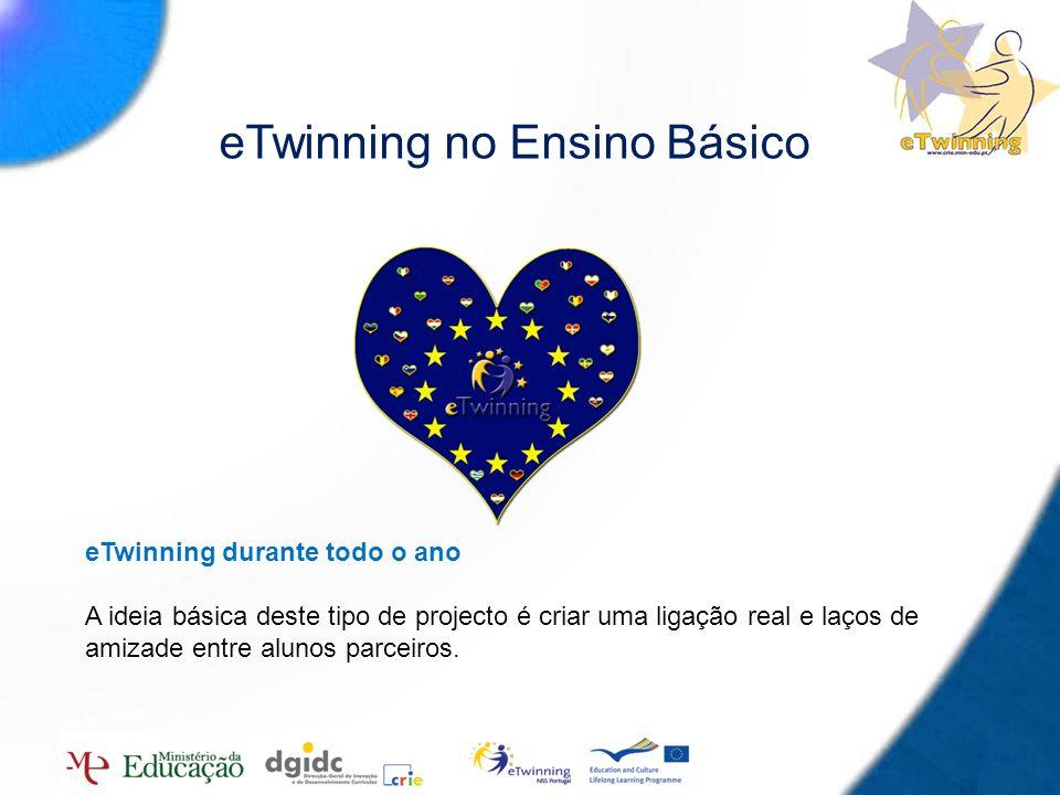 10 eTwinning no Ensino Básico eTwinning durante todo o ano A ideia básica deste tipo de projecto é criar uma ligação real e laços de amizade entre alu