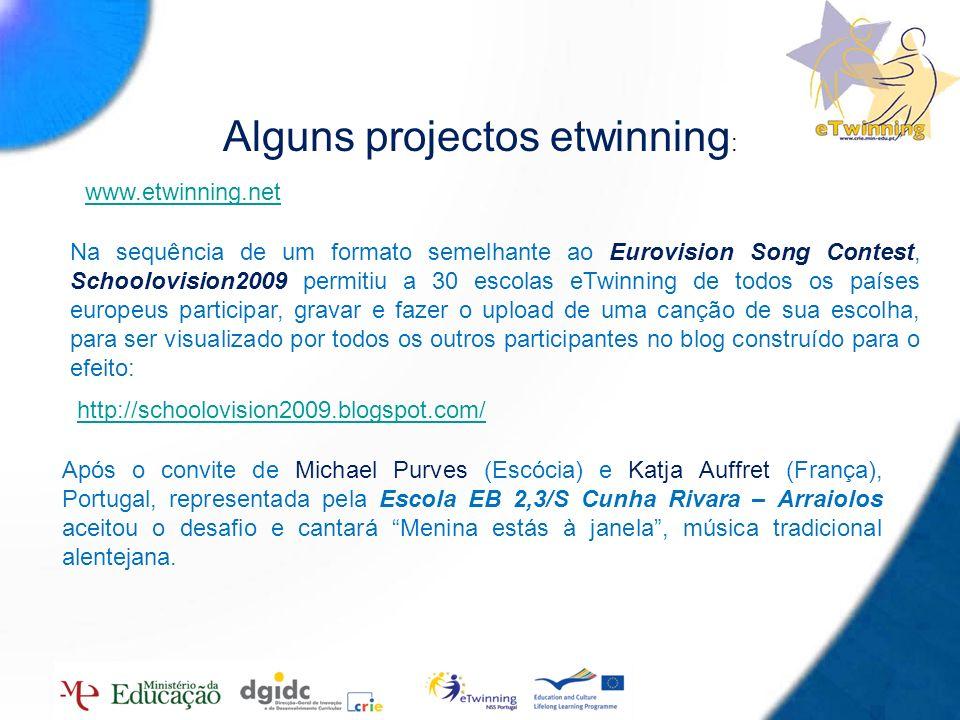 15 Alguns projectos etwinning : http://schoolovision2009.blogspot.com/ www.etwinning.net Após o convite de Michael Purves (Escócia) e Katja Auffret (F