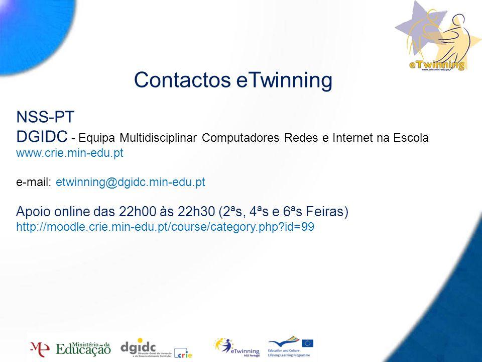 16 Contactos eTwinning NSS-PT DGIDC - Equipa Multidisciplinar Computadores Redes e Internet na Escola www.crie.min-edu.pt e-mail: etwinning@dgidc.min-