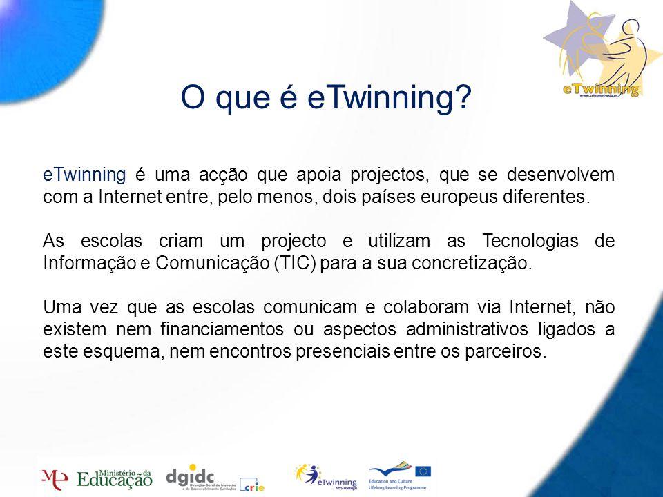 3 O que é eTwinning? eTwinning é uma acção que apoia projectos, que se desenvolvem com a Internet entre, pelo menos, dois países europeus diferentes.