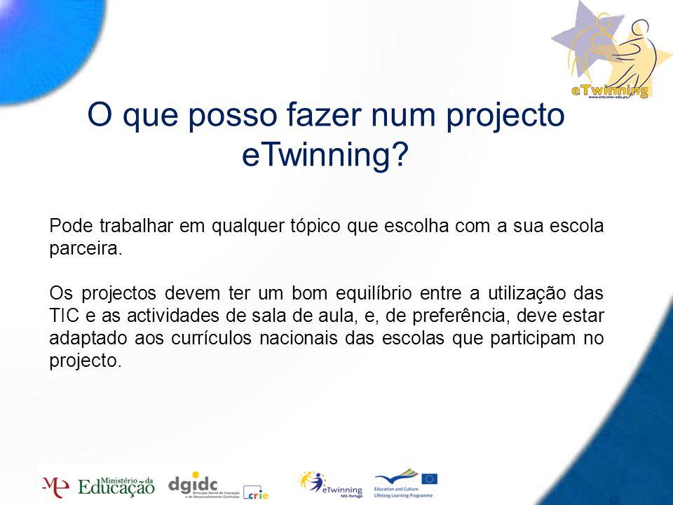 4 O que posso fazer num projecto eTwinning? Pode trabalhar em qualquer tópico que escolha com a sua escola parceira. Os projectos devem ter um bom equ