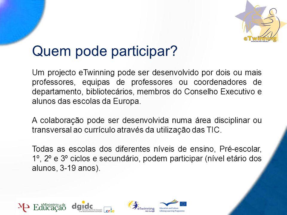 6 Quem pode participar? Um projecto eTwinning pode ser desenvolvido por dois ou mais professores, equipas de professores ou coordenadores de departame