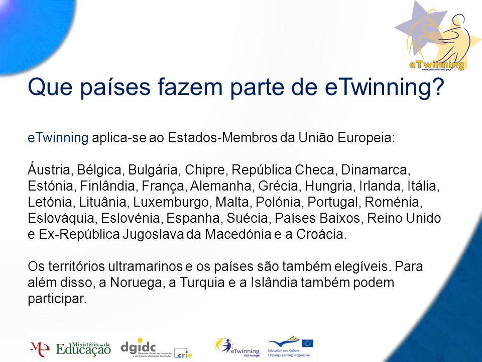 7 Que países fazem parte de eTwinning? eTwinning aplica-se ao Estados-Membros da União Europeia: Áustria, Bélgica, Bulgária, Chipre, República Checa,