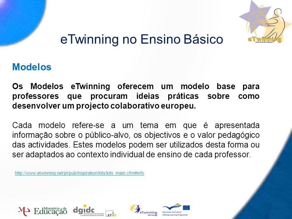 8 eTwinning no Ensino Básico Modelos Os Modelos eTwinning oferecem um modelo base para professores que procuram ideias práticas sobre como desenvolver