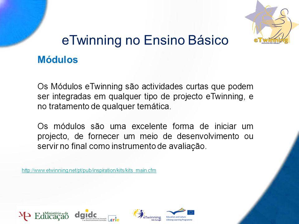 9 Módulos Os Módulos eTwinning são actividades curtas que podem ser integradas em qualquer tipo de projecto eTwinning, e no tratamento de qualquer tem