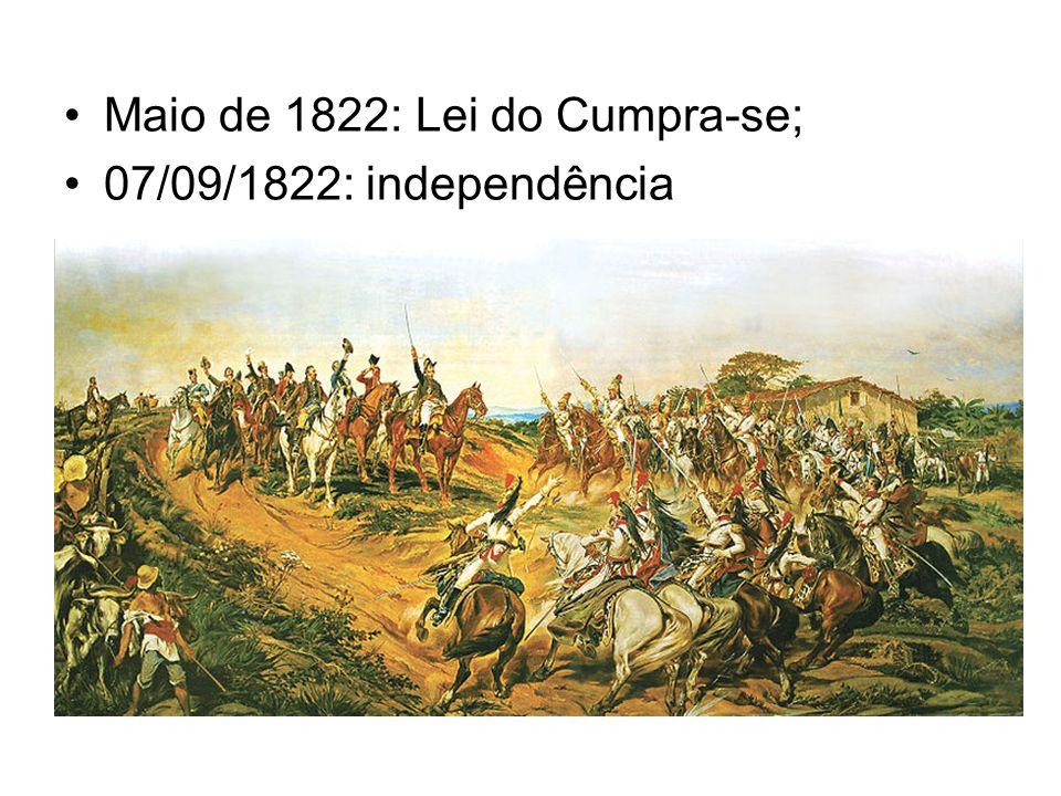 Maio de 1822: Lei do Cumpra-se; 07/09/1822: independência