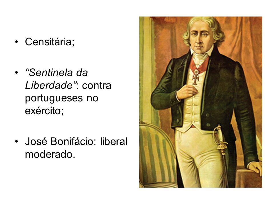 Censitária; Sentinela da Liberdade: contra portugueses no exército; José Bonifácio: liberal moderado.
