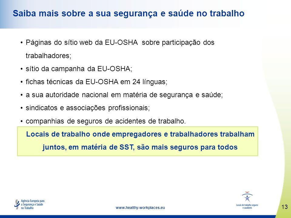 13 www.healthy-workplaces.eu Saiba mais sobre a sua segurança e saúde no trabalho Páginas do sítio web da EU-OSHA sobre participação dos trabalhadores