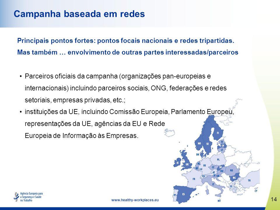 14 www.healthy-workplaces.eu Campanha baseada em redes Principais pontos fortes: pontos focais nacionais e redes tripartidas. Mas também … envolviment