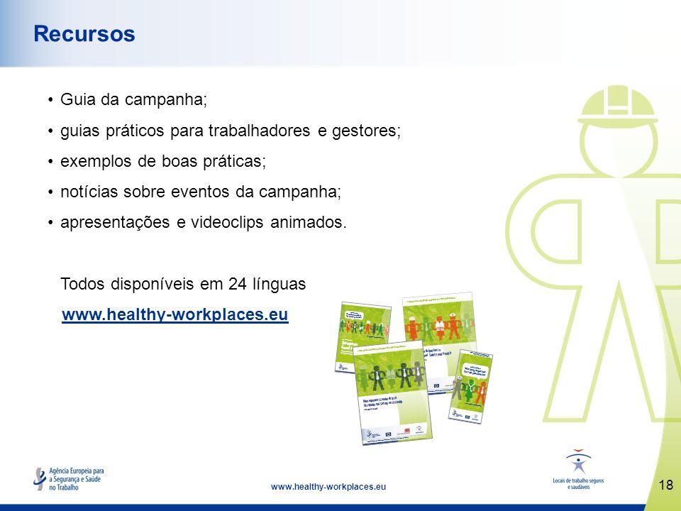 18 www.healthy-workplaces.eu Recursos Guia da campanha; guias práticos para trabalhadores e gestores; exemplos de boas práticas; notícias sobre evento