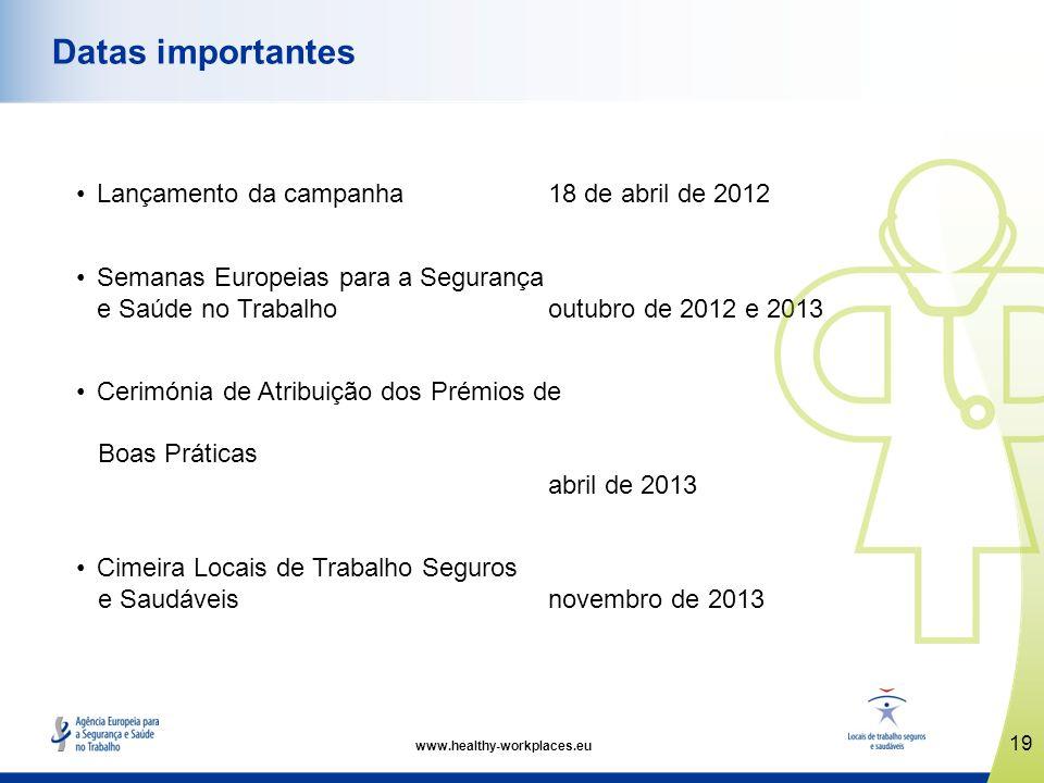 Lançamento da campanha18 de abril de 2012 Semanas Europeias para a Segurança e Saúde no Trabalho outubro de 2012 e 2013 Cerimónia de Atribuição dos Pr