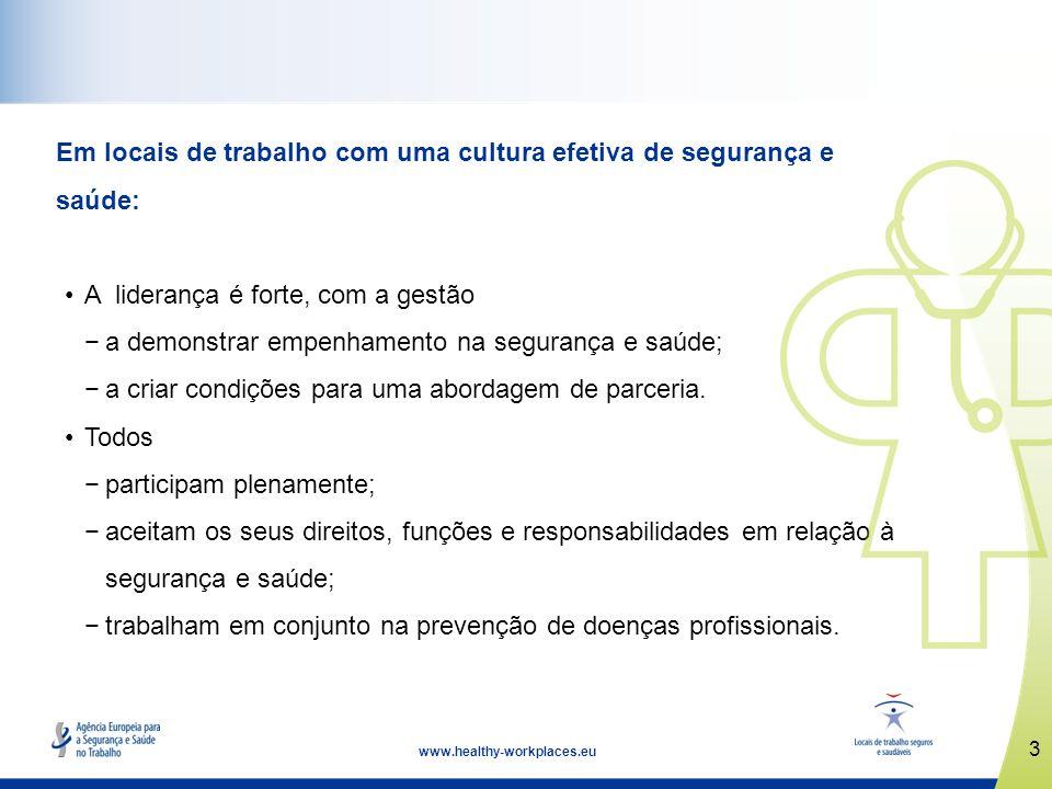 3 www.healthy-workplaces.eu Em locais de trabalho com uma cultura efetiva de segurança e saúde: A liderança é forte, com a gestão a demonstrar empenha