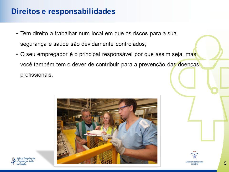 5 www.healthy-workplaces.eu Direitos e responsabilidades Tem direito a trabalhar num local em que os riscos para a sua segurança e saúde são devidamen