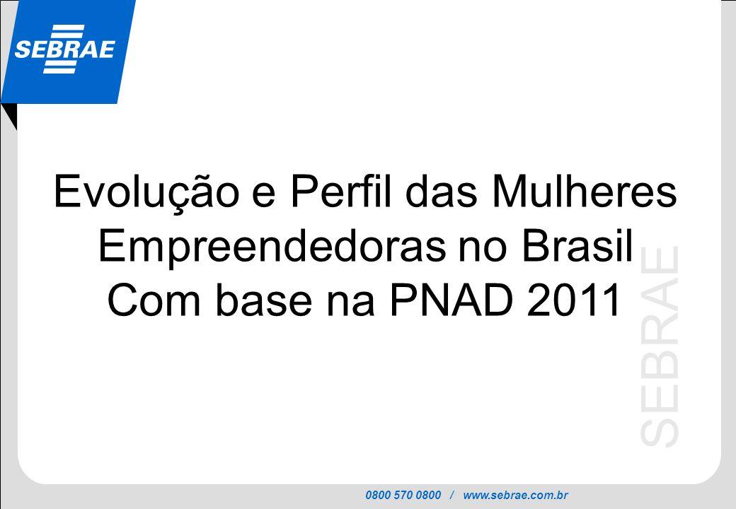 0800 570 0800 / www.sebrae.com.br SEBRAE Evolução (2001-2011) Fonte: PNAD 2011 (IBGE) Entre 2001 e 2011, o número de mulheres empreendedoras aumentou 21%, enquanto o número de homens empreendedores aumentou 10% Número de Empreendedores no Brasil (em milhões de pessoas)