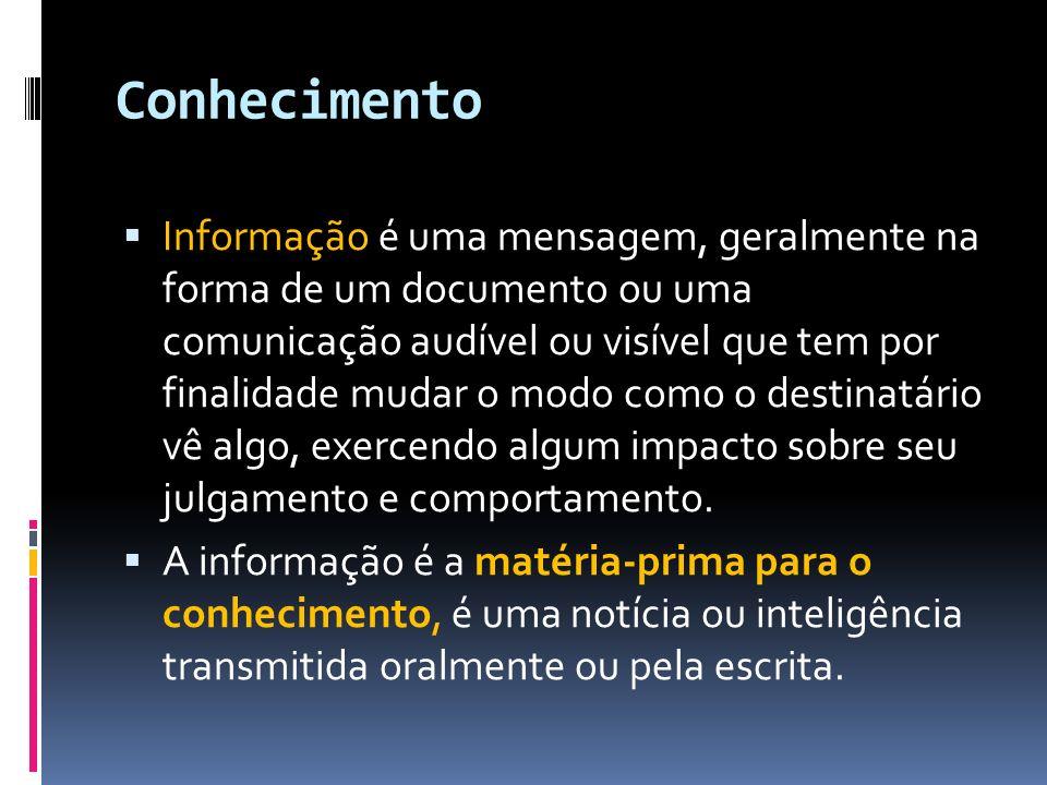 Conhecimento Informação é uma mensagem, geralmente na forma de um documento ou uma comunicação audível ou visível que tem por finalidade mudar o modo