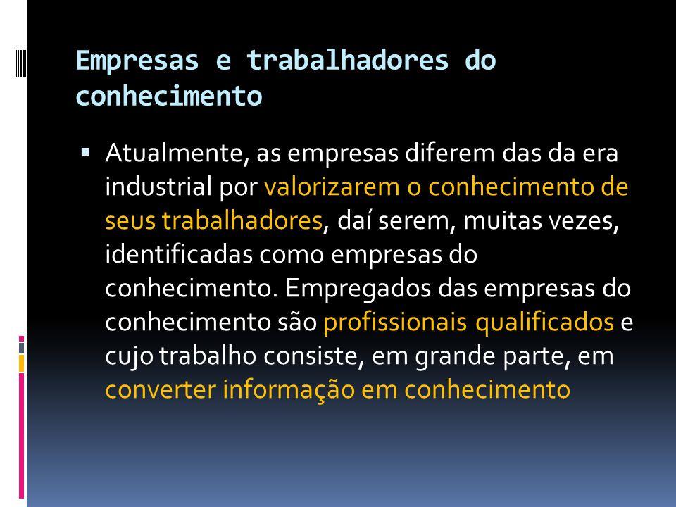 Empresas e trabalhadores do conhecimento Atualmente, as empresas diferem das da era industrial por valorizarem o conhecimento de seus trabalhadores, d