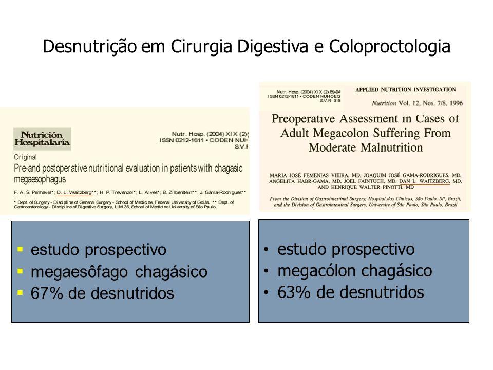 Desnutrição em Cirurgia Digestiva e Coloproctologia estudo prospectivo megacólon chagásico 63% de desnutridos estudo prospectivo megaesôfago chagásico