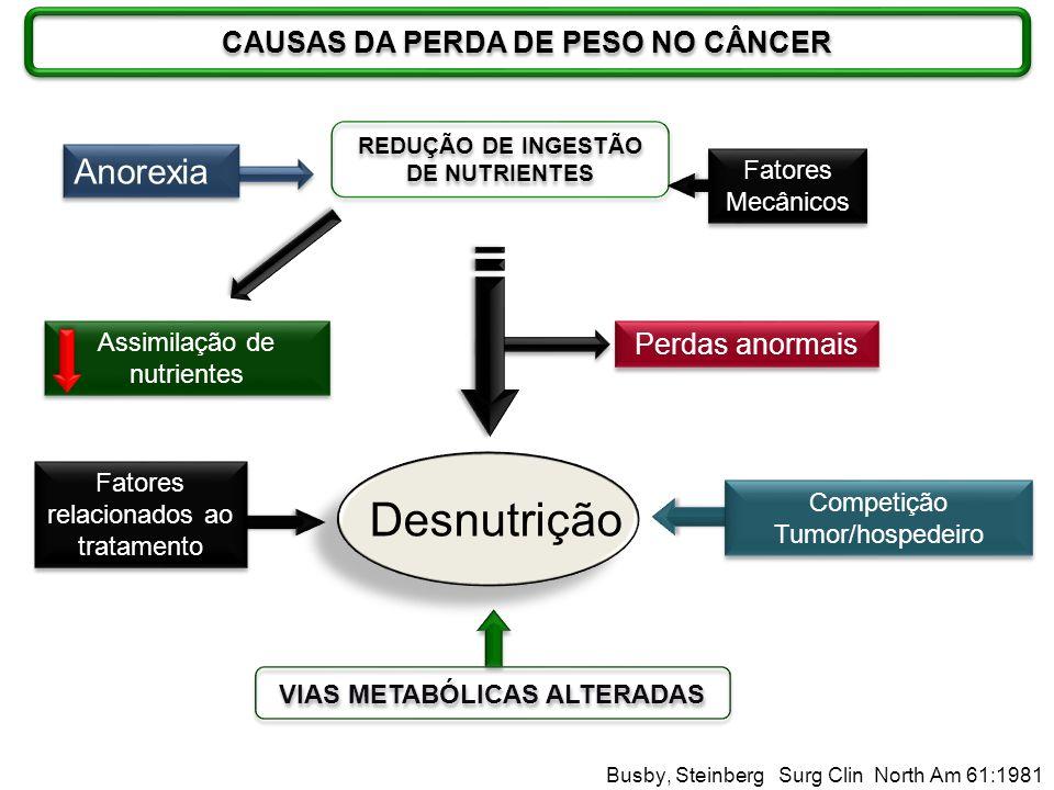 Assimilação de nutrientes Desnutrição Anorexia REDUÇÃO DE INGESTÃO DE NUTRIENTES Fatores relacionados ao tratamento VIAS METABÓLICAS ALTERADAS Competi