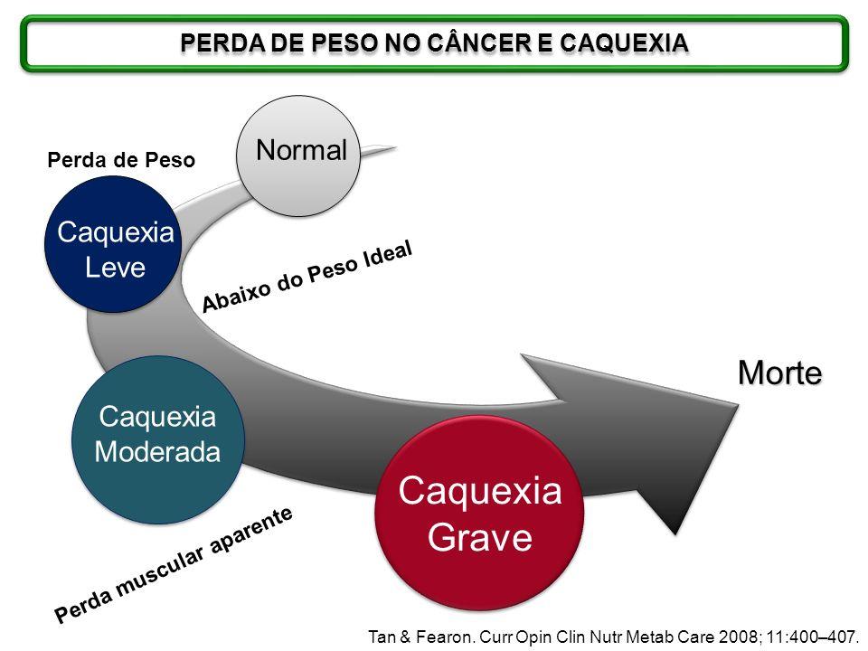Morte Caquexia Grave Caquexia Moderada Normal Caquexia Leve Perda de Peso Abaixo do Peso Ideal Perda muscular aparente Tan & Fearon. Curr Opin Clin Nu