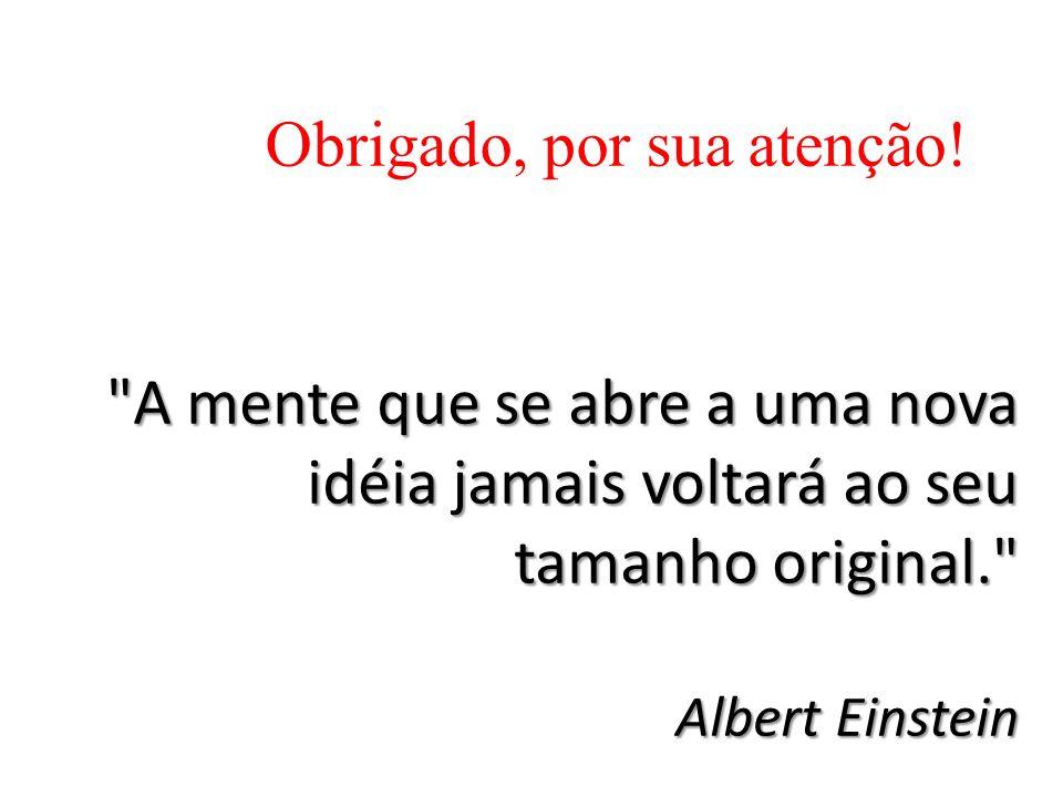 A mente que se abre a uma nova idéia jamais voltará ao seu tamanho original. Albert Einstein Obrigado, por sua atenção!