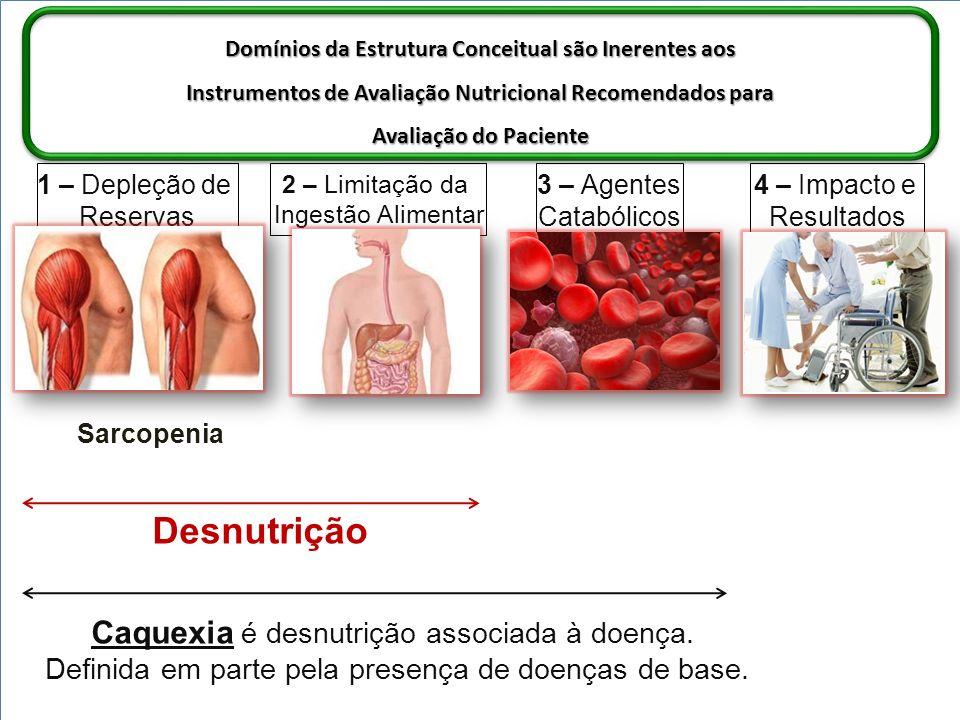 Domínios da Estrutura Conceitual são Inerentes aos Instrumentos de Avaliação Nutricional Recomendados para Avaliação do Paciente 1 – Depleção de Reservas 2 – Limitação da Ingestão Alimentar 3 – Agentes Catabólicos 4 – Impacto e Resultados Ex.: - Baixo Peso Corpóreo - Perda de Peso Corpóreo - Perda de Massa Magra - Sarcopenia (perda muscular severa) Ex.: Sintomas Impacto Nutricional: - Anorexia - Disfagia - Náusea - Social/Psicológic o Ex.: - Inflamação - Carga tumoral - Resistência à insulina - Hipogonadismo - Corticosteróides - Comorbidades Ex.: - Função física - Qualidade de vida - Angústia - Sobrevida - Resultados do tratamento - Custos