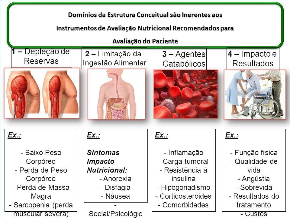 Domínios da Estrutura Conceitual são Inerentes aos Instrumentos de Avaliação Nutricional Recomendados para Avaliação do Paciente 1 – Depleção de Reser
