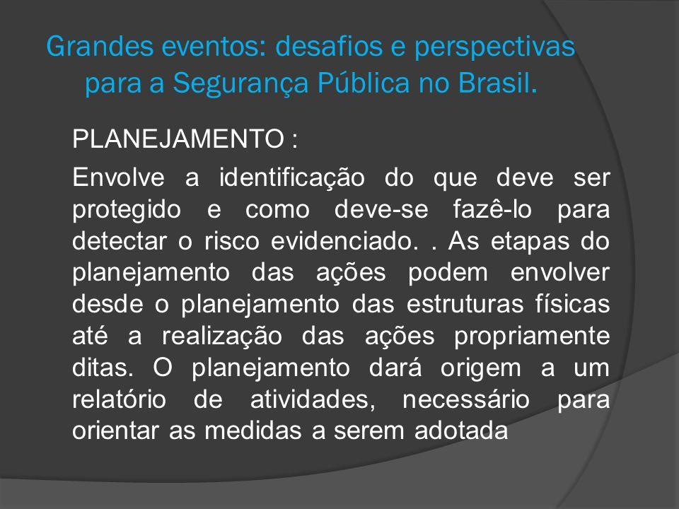 Grandes eventos: desafios e perspectivas para a Segurança Pública no Brasil. PLANEJAMENTO : Envolve a identificação do que deve ser protegido e como d