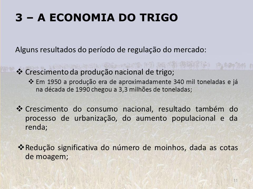 3 – A ECONOMIA DO TRIGO Alguns resultados do período de regulação do mercado: Crescimento da produção nacional de trigo; Em 1950 a produção era de apr