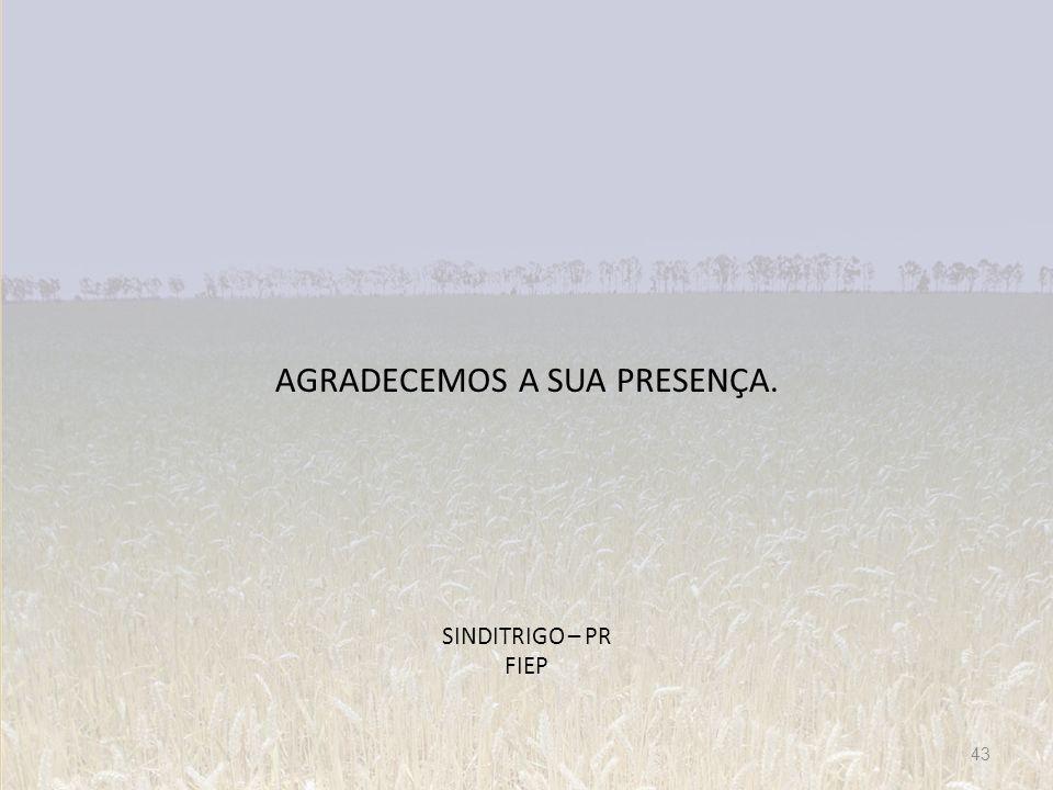 AGRADECEMOS A SUA PRESENÇA. SINDITRIGO – PR FIEP 43