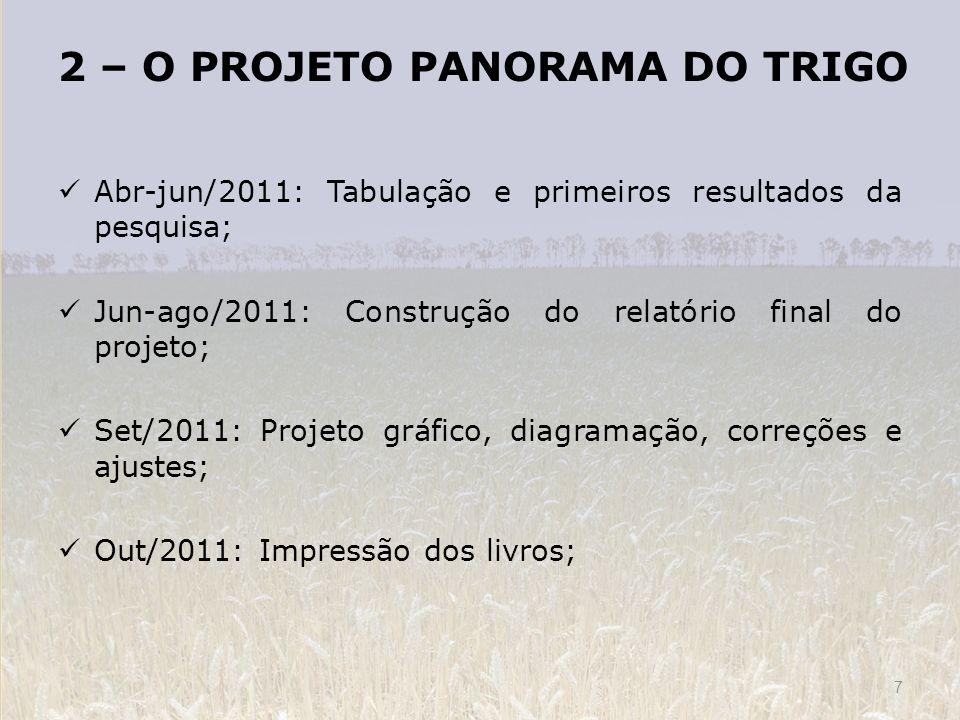 2 – O PROJETO PANORAMA DO TRIGO Abr-jun/2011: Tabulação e primeiros resultados da pesquisa; Jun-ago/2011: Construção do relatório final do projeto; Se