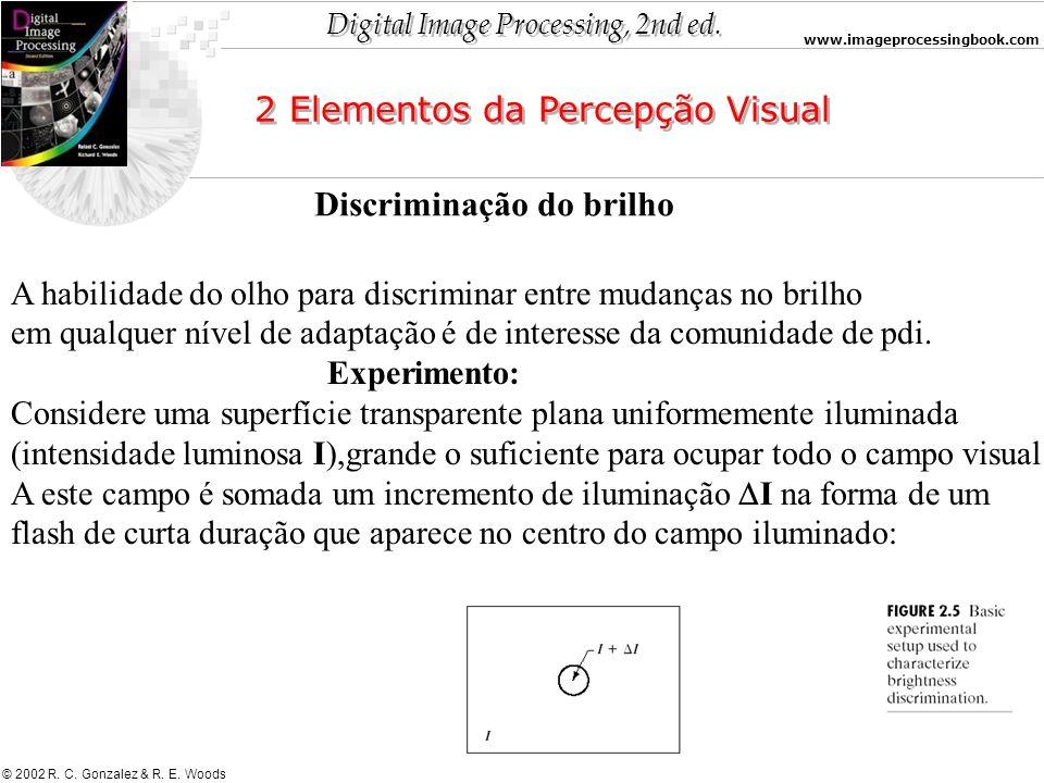 Digital Image Processing, 2nd ed. www.imageprocessingbook.com © 2002 R. C. Gonzalez & R. E. Woods 2 Elementos da Percepção Visual Discriminação do bri