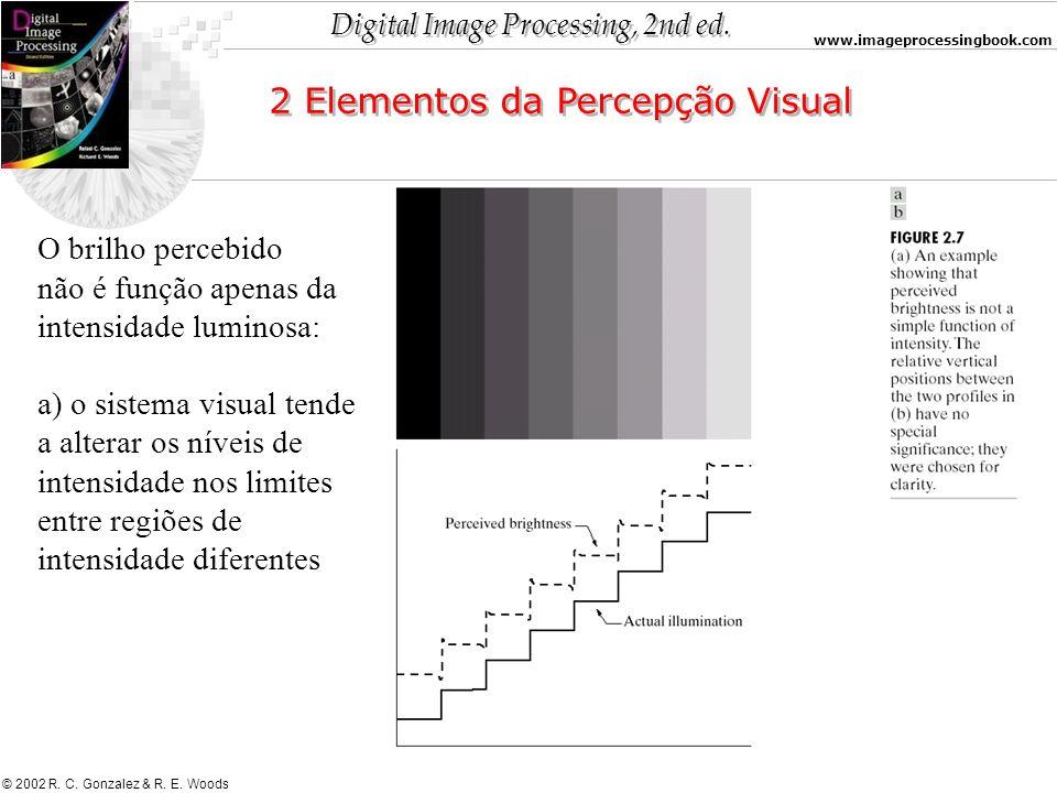 Digital Image Processing, 2nd ed. www.imageprocessingbook.com © 2002 R. C. Gonzalez & R. E. Woods 2 Elementos da Percepção Visual O brilho percebido n