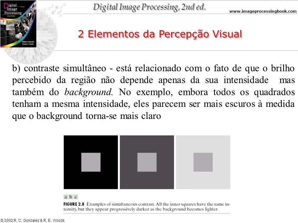 Digital Image Processing, 2nd ed. www.imageprocessingbook.com © 2002 R. C. Gonzalez & R. E. Woods 2 Elementos da Percepção Visual b) contraste simultâ